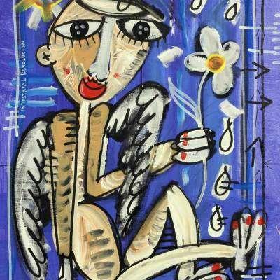 angelo con fiore quadro moderno arte contemporanea arte di alessandro siviglia