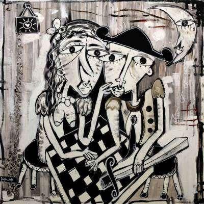 dipinto figurativo in bianco e nero ''la parole''
