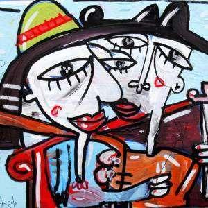 dipinto figurativo torero con sivillana