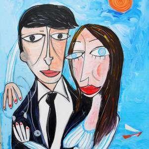dipinto figurativo giovane fidanzati