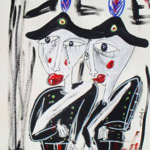 dipinto figurativo-arma-cartoncino-rigato-alessandro siviglia