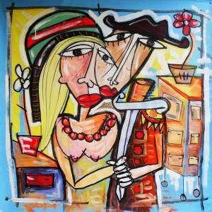 quadro moderno la nostra casa , olio su tela amanti
