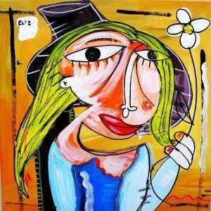 quadro moderno la zingara , ritratto olio su tela