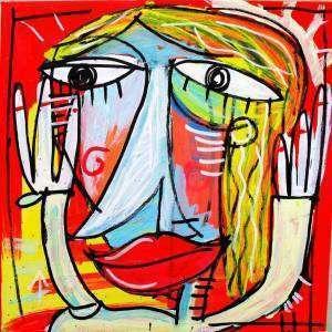 figurativo di donna con rosso e celeste