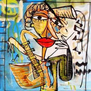 uomo che suona la tromba quadro olio su tela