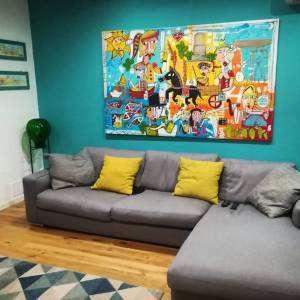 quadro moderno sulla Sicilia-dipinto grande su parete turchese verde mare, quadro con carretto siciliano e pupi, foglie di fico d'india , Alessandro Siviglia
