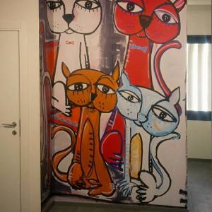 dipinto immagine aziendale arte di alessandro siviglia gatti, quadri animali