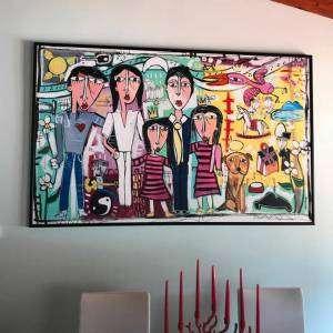 dipinto moderno a mano su tela ritratto di famiglia alessandro siviglia