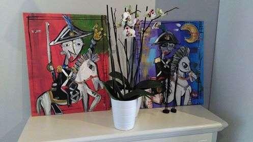 dipinto moderno carabbinieri a cavallo, carabbinieri a cavallo , cavallo bianco quadro