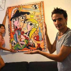 dipinto moderno con arancio e rosso colori caldi alessandro siviglia pittore famoso dipinto per gli innamorati collezione privata napoli olio su tela