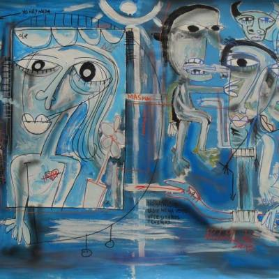 mismo dipinto moderno con sfumature di blu grigio bianco e nero
