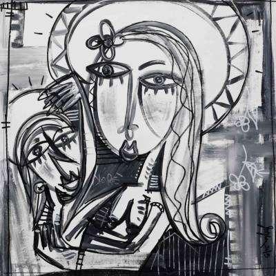 figurativo in bianco e nero ritratto della madonna con bambino arte sacra