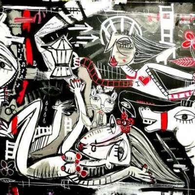 dipinto in bianco e nero con particolari in rosso