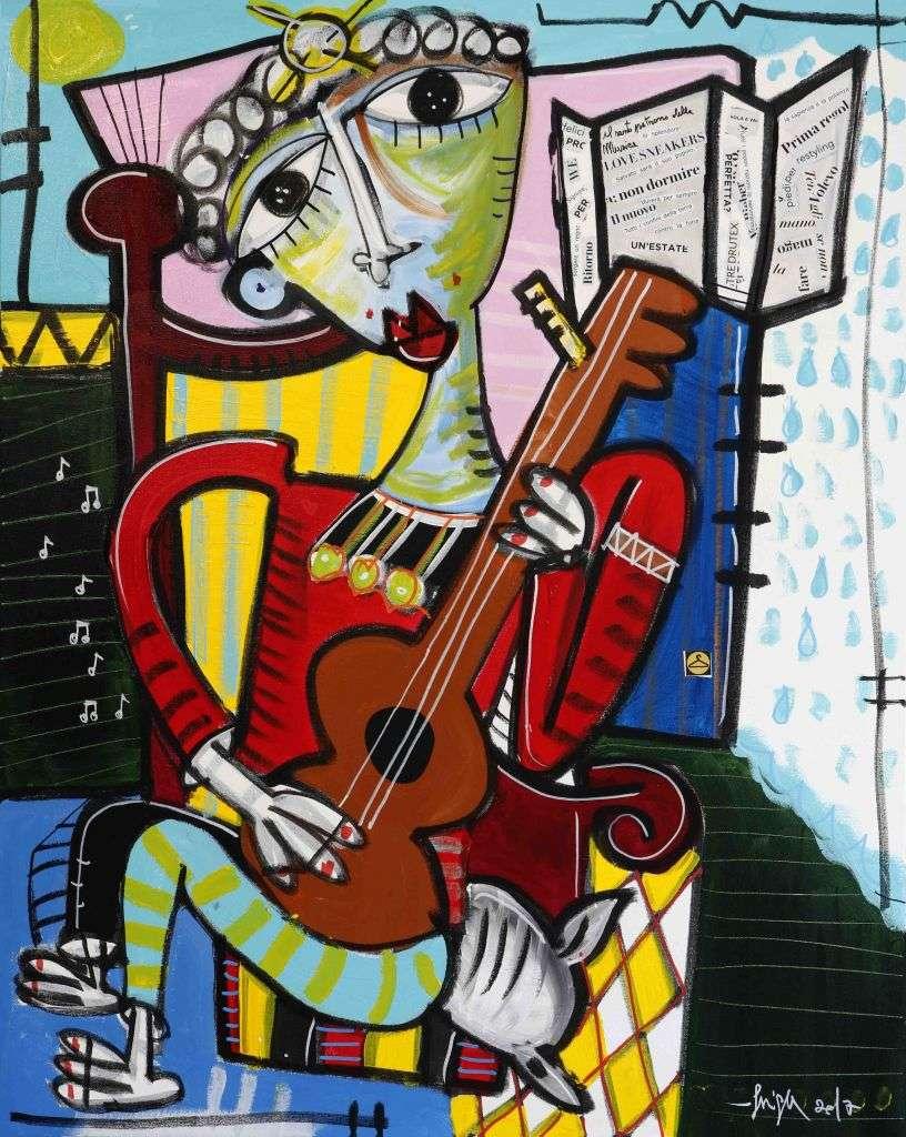 il patrono della musica - 100x80 - quadro di siviglia alessandro_artista contemporaneo