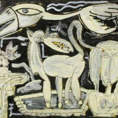 quadro moderno in bianco e nero con  animali fantastici