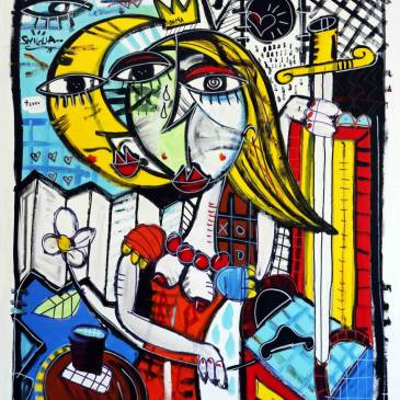 la dama e il trono_120x100_dipinto a mano