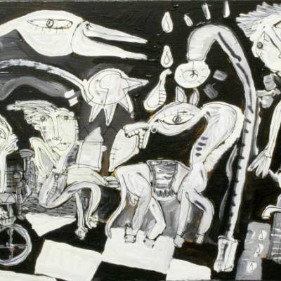dipinto moderno con carretto siciliano