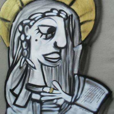 quadro moderno dipinto su cartone rigato maria