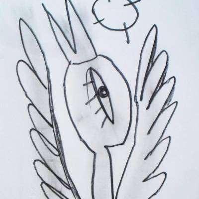 bozzetto su carta dell'a rtista alessandro siviglia cigno che vola