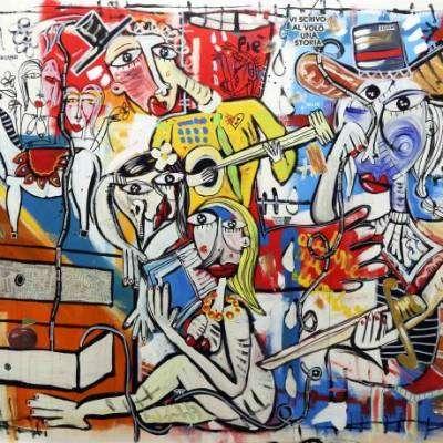 dipinto olio su tela l'ordine nel disordine