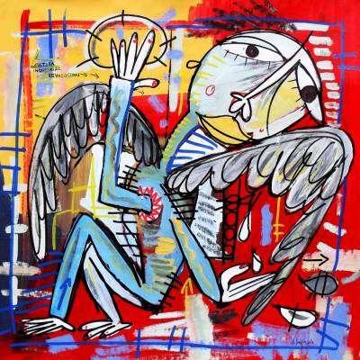 QUADRO MODERNO ASTRATTO CN ANGELO STILE PICASSO ALESSANDRO SIVIGLIA è L'ARTISTA DELL'OPERA, QUADRO MODERNO CON ROSSO CELESTE E ALTRI COLORI AUTENTICI