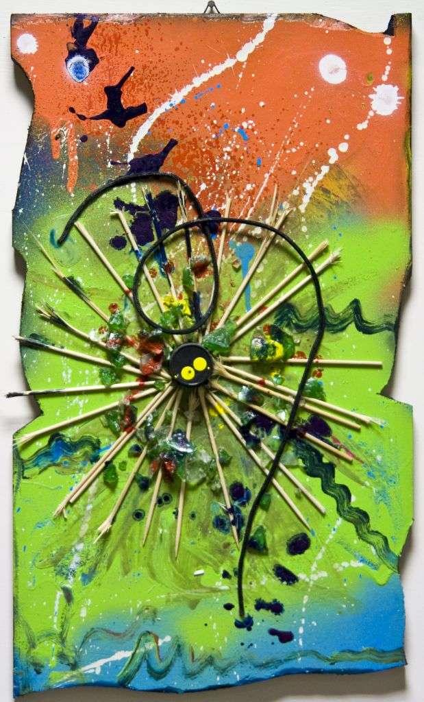 quadro astratto con oggetti e molta materia pittore alessandro siviglia arredamento studio legale