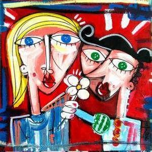 figurativo quadro arte contemporanea arredamento studio medico dipinto rosso