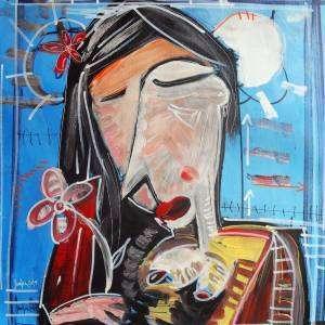 dipinto a mano donna con fiore