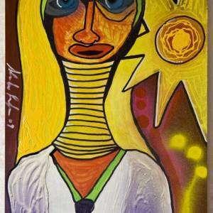 quadro dipinto a mano donna africana con anelli al collo