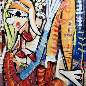 figurativo con donna nuda olio su tela
