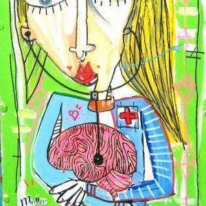 ritratto di una dottoressa psicologa che coccola il cervello da guaire