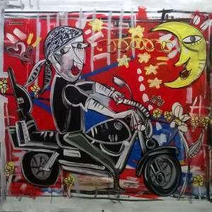 ritratto di uomo con moto quadro dipinto