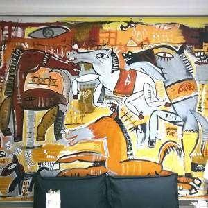 quadro moderno con cavalli che corrono, dipinto moderno su tenda da sole interna