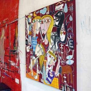 quadro moderno con fondo granata arredamento casa dipinti a mano
