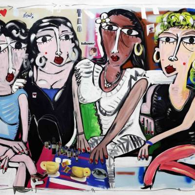 quadro moderno grande-Ladies-night-pop-art-paiting-canvas-modern-art-dipinto-moderno