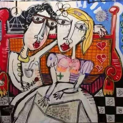 il dentista e la moglie arredamento studio dentistico quadri moderni 100x200 cm