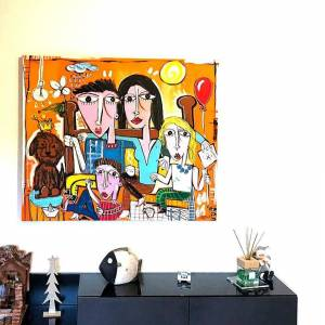 ritratto di famiglia dipinto a mano su tela da alessandro siviglia
