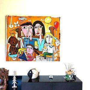 ritratto di famiglia felice dipinta a mano su tela dall'artista alessandro sivilgia