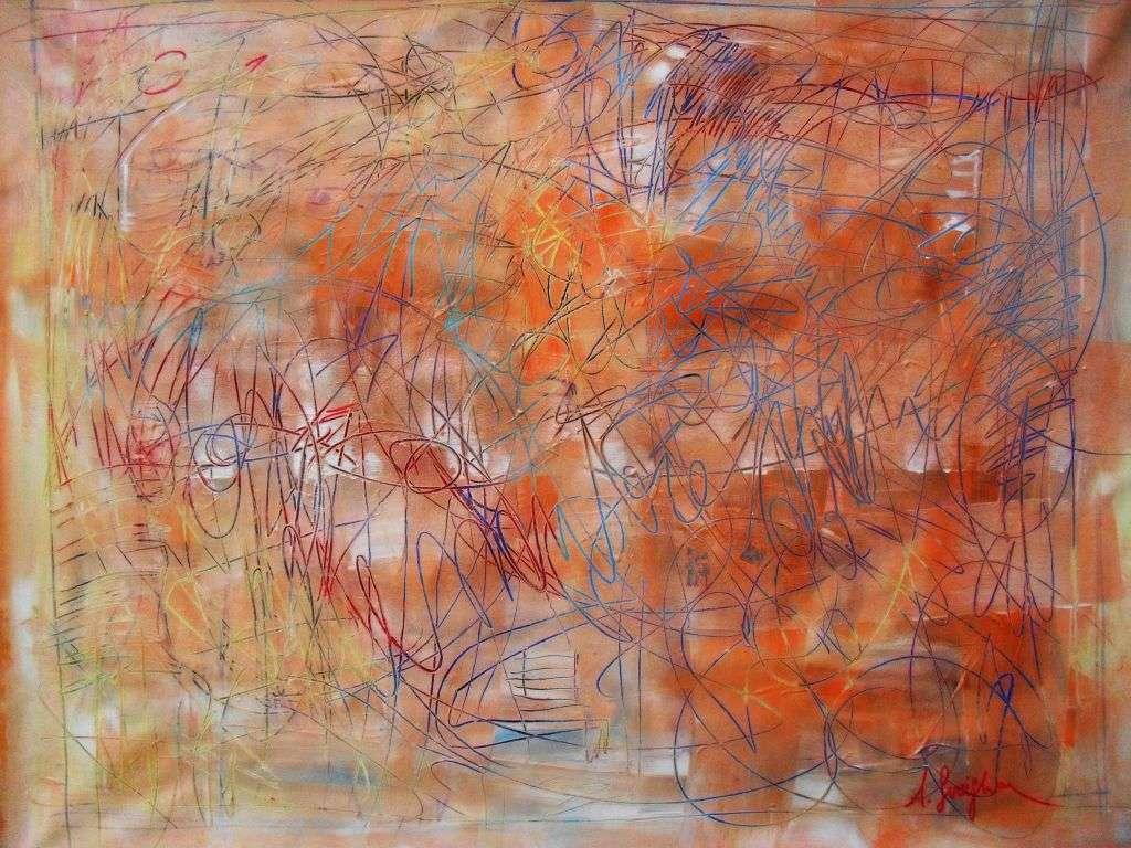 quadro moderno con color salmone stella astratto su tela