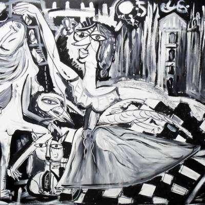 dipinto moderno duomo di milano con ballerine