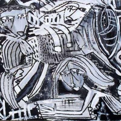 figurativo con animali in bianco e nero