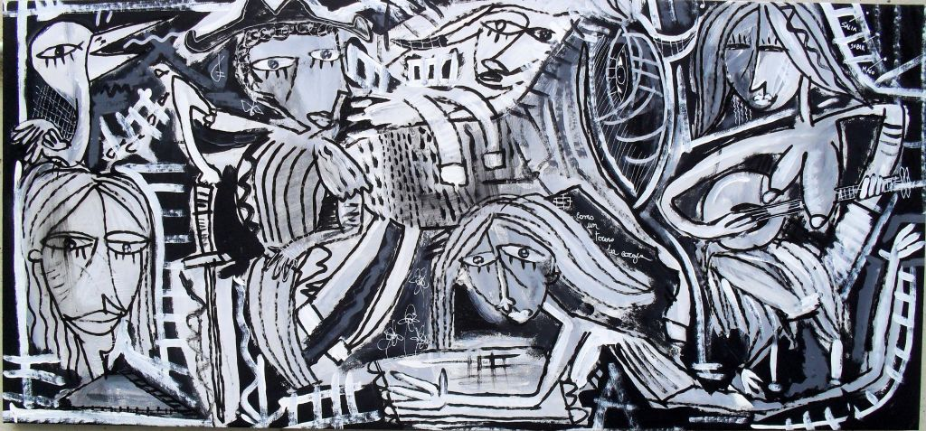 Quadri in bianco e nero originali dipinti a mano da for Dipinti moderni bianco e nero