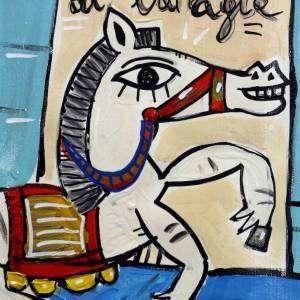 dipinto di un cavallo in corsa di colore bianco