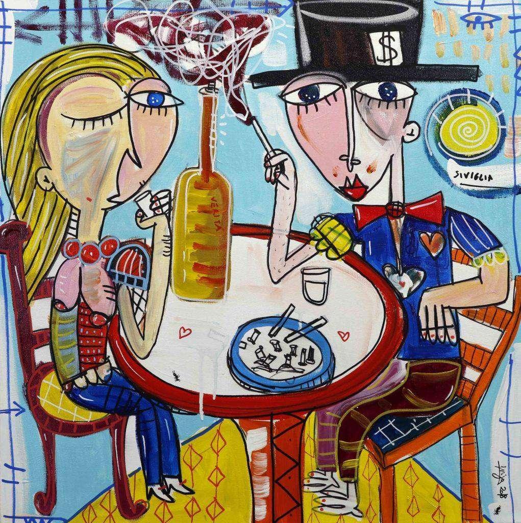 Le verità - quadro moderno coppia seduta al tavolo
