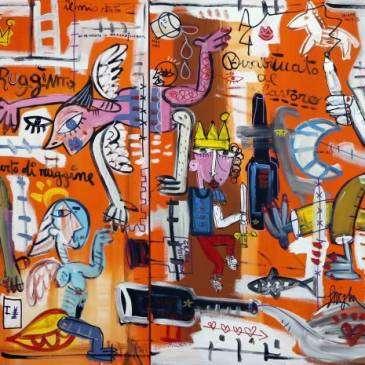 quadro-moderno-grande-arancione-studio-medico-arredamento-quadri