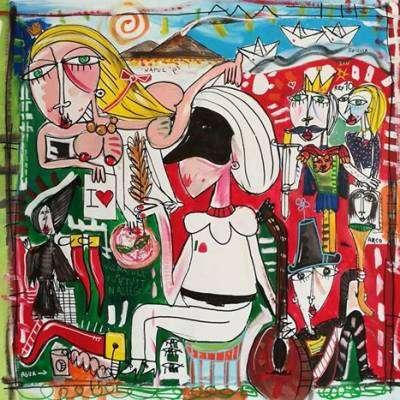 dipinti su commissione VENDUTO A NAPOLI quadro moderno olio su tela pulcinella e il vesuvio
