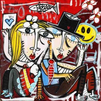 dipinto su commissione venduto in italia gli amanti sorridenti quadro olio su tela dell'artista alessandro siviglia