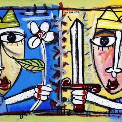 i due re fratelli re con fiore e l'altro con la spada alessandro siviglia arte contemporanea