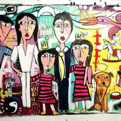 grande dipinto per l'avvocato ritratto di famiglia collezione privata Napoli