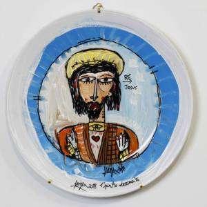 ritratto di cristo su piatto in ceramica